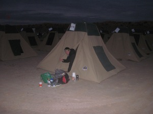 Tent 4, Camp 1, the night before the first marathon of the week . . .
